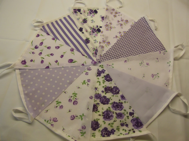 Bunting 10ft 3 metres Lilac single sided shabby chic Wedding party LILAC 10