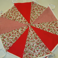 Bunting 60ft 18 metres single sided shabby chic Wedding party Red 60