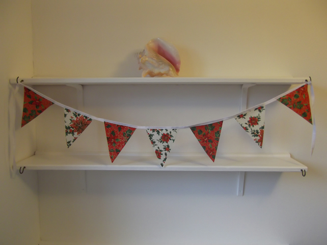 Mini Christmas Bunting Garland Banner 3ft 100% cotton