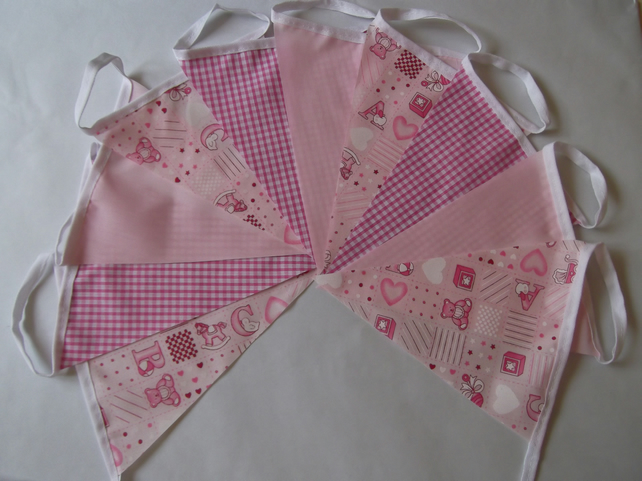 Bunting 10ft 3 metres Pink single sided shabby chic Baby Christening Shower