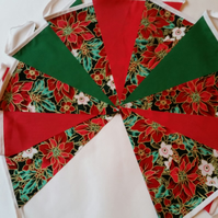 Christmas  Fabric Bunting 10ft 3 mtrs Red Green