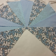 Bunting 10ft 3 metres Blue single sided shabby chic Baby Christening Shower