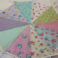 Bunting 10ft 3 metres single sided shabby chic Wedding party multi floral 10