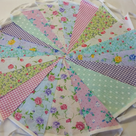 Bunting 20ft 6 metres single sided shabby chic Wedding party multi floral 20