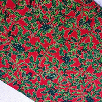 "Christmas Table Runner Holly fabric handmade 53"" x 12"""