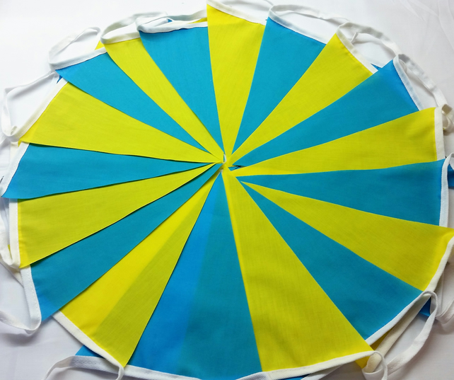 Tour De Yorkshire Fabric Bunting Blue Yellow 5mtr length Handmade