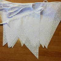 Bunting White Leaf fabric 20ft 6 metres single sided shabby chic 20 white leaf