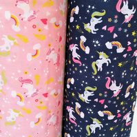Unicorn Poly-Cotton Fabric per metre. Pink or Blue