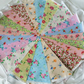 Bunting 40ft 12metres single ply shabby chic Wedding party multi floral 40