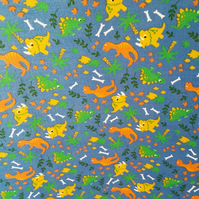 Dinosaur Poly-Cotton Fabric per metre.  Blue