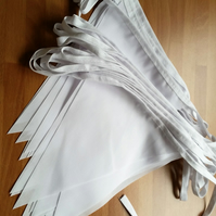 White Fabric Bunting in 10 meter 32ft Lengths, Handmade Elegant Classic Wedding
