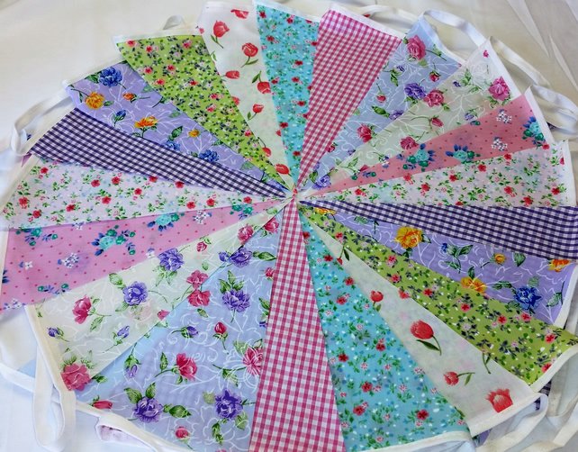 Bunting 40ft 12 metres single sided shabby chic Wedding party multi floral