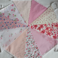Bunting 10ft 3 metres single sided shabby chic Wedding party PINK 10