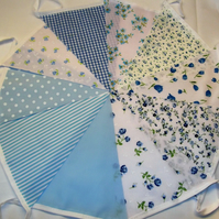 Bunting 10ft 3 metres single sided shabby chic Wedding party BLUE 10