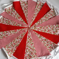 Bunting 20ft 6 metres single sided shabby chic Wedding party Red 20
