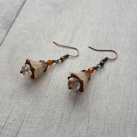 Brown and Cream Vintage Style Fairy Flower Earrings