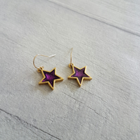 Gold and Purple Glitter Resin Star Earrings