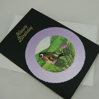 Goldfinch Happy birthday Card (scented)