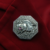 Octagonal Pewter mouse brooch