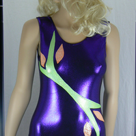 Purple Vest top gymnastic leotard
