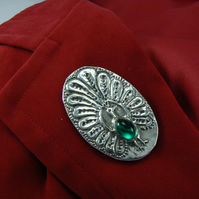 Pewter peacock brooch