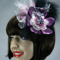 hovering  butterfly fascinator (cerise)