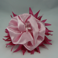 Cerise and pink floral hair comb