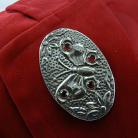 Pewter Butterfly brooch set with red stones