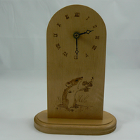 Mantle clock with pyrographed mouse on