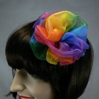 Rainbow organza hair accessory