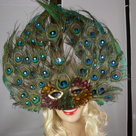 Peacock feather face mask