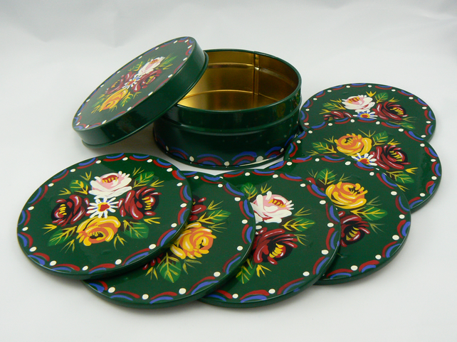 6 barge art coasters in a tin