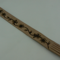 Pyrographed leather bookmark (butterflies and flowers)
