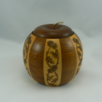 Two tone wooden pot with lid (Pyrographed)