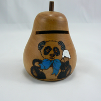 Money box with key (pyrography)