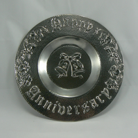 Pewter 25th Wedding anniversary plate