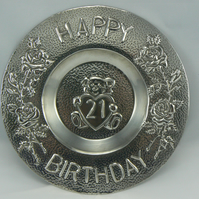 Pewter 21st birthday plate