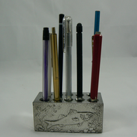 Pewter pencil block ( featuring bass fish)