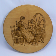 spinning wheel plaque (pyrography)