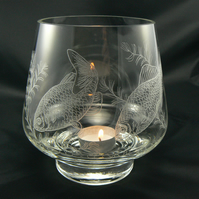 Large crystal glass tealight holder Goldfish)