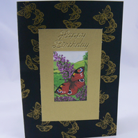 Butterfly on Buddleia  Birthday Card (scented)