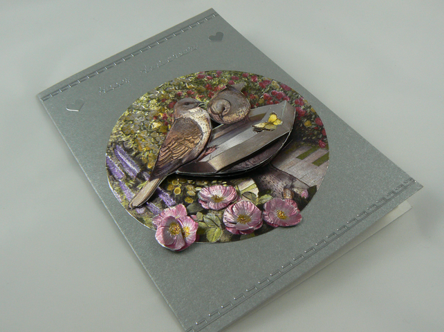 Collared Doves Anniversary card (  3D decoupage and dufex foil )