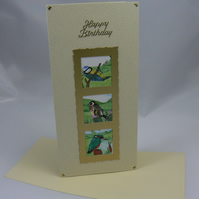 Blue tit, bullfinch, and kingfisher birthday card