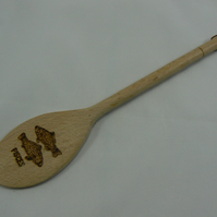 Wooden spoon with Pisces star sign (pyrographed)