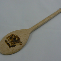 Wooden spoon with Aquarius star sign (pyrographed)