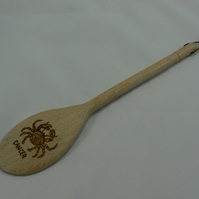 Wooden spoon with Cancer star sign (pyrographed)