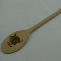 Wooden spoon with Taurus star sign (pyrographed)
