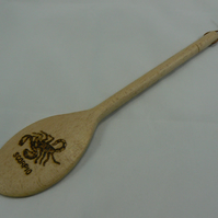 wooden spoon with Scorpio star sign (pyrographed)