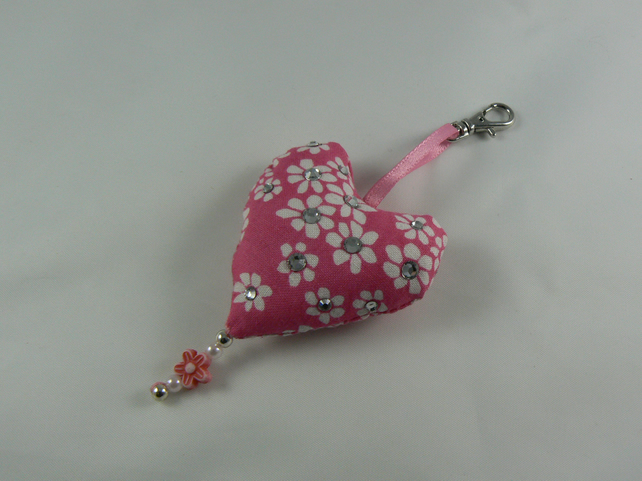Handbag charm (heart) with Swarovski crystals