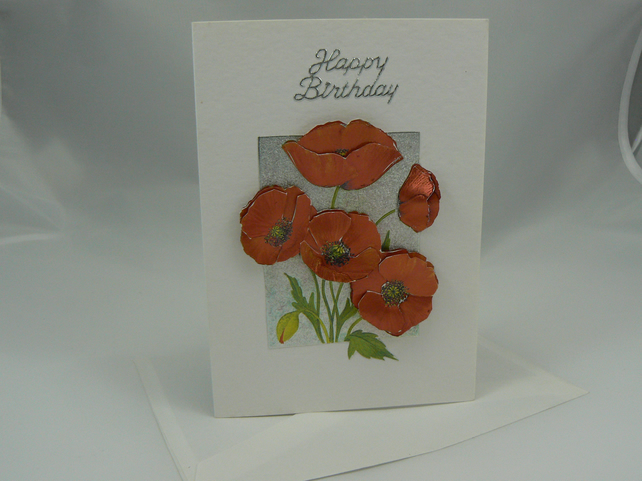 Poppies Birthday card (3D decoupage)